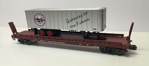 CN Flat car with WPandY trailer